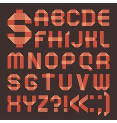 Font from reddish scotch tape - roman alphabet vector