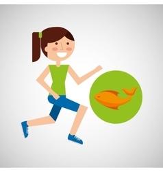 Girl jogger fresh fish healthy lifestyle vector