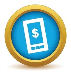Gold dollar phone icon vector
