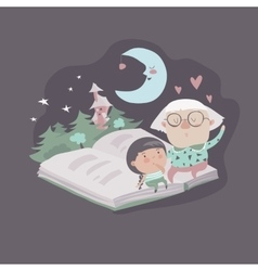 Grandmother tells a fairytales to her vector image