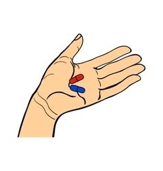 Human hand holding pills vector image vector image