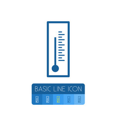Isolated temperature outline thermometer vect vector