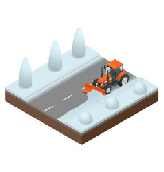Isometric bulldozer cleans from the road old snow vector