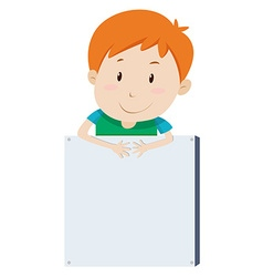 Little boy and empty board vector image vector image