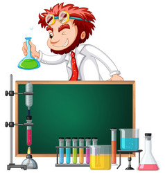 mad scientist and science equipments vector image