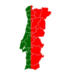 Map and flag of portugal vector