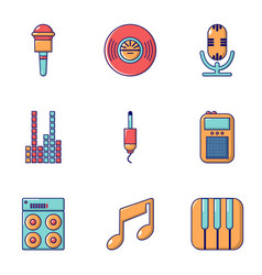 music player icons set flat style vector image