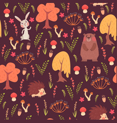 seamless animal pattern in forest vector image