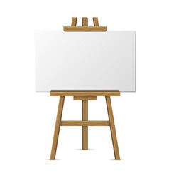 wooden easel with blank canvas on white background vector image vector image
