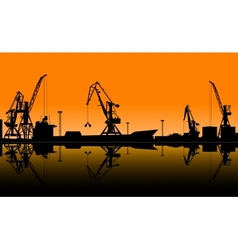 Working cranes unload cargo in seaport vector image