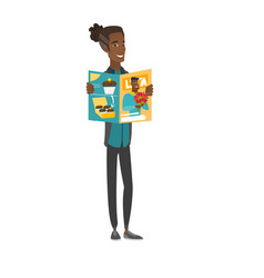 Young african-american man reading magazine vector