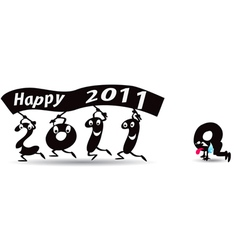 Happy new year 2011 greeting card vector