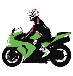 Biker on motorcycle travels vector