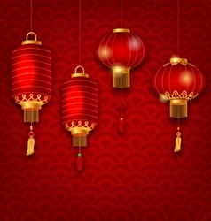 Chinese background with lanterns seigaiha texture vector