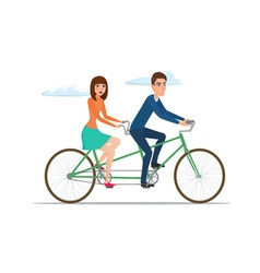 Man and woman on twin bike Young couple riding a vector image