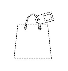 Shopping bag sign with tag black dashed vector