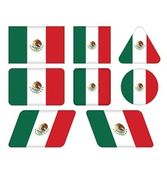 Buttons with flag of mexico vector
