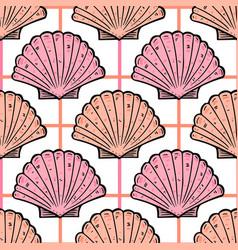 sea shells vintage seamless pattern marine vector image