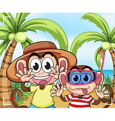 Funny monkeys at the beach vector image