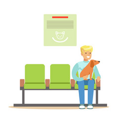 man sitting in waiting hall with his pet dog and vector image