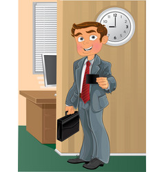Businessman with business card in office vector