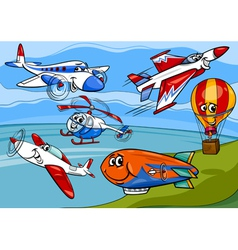Planes aircraft group cartoon vector