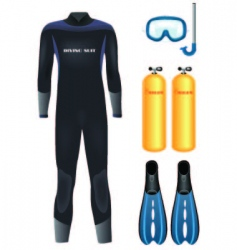 Diving equipment vector