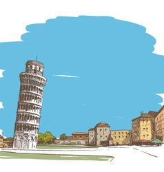 Pisa cityscape drawing vector