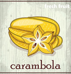 Hand drawing of carambola fresh fruit sketch vector