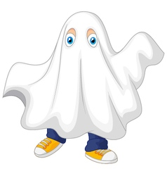 Cute kid in a ghost costume celebrating halloween vector