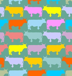 Colored cows herd seamless pattern ornament of vector