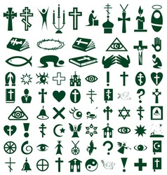 Religion faith icons on white vector