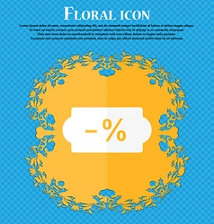 Sale tag icon floral flat design on a blue vector