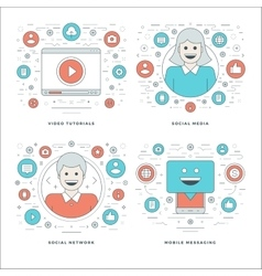 Flat line social media and network video vector