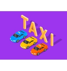 Flat 3d isometric car taxi vector