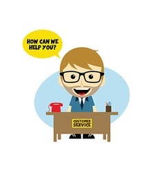 Customer service desk cartoon character vector