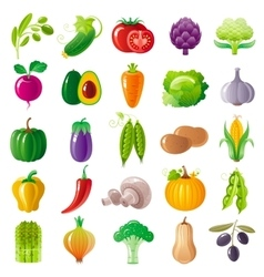 Vegetarian food icon set with organic fruits vector image