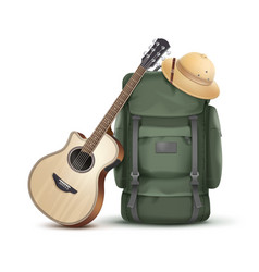 Backpack with hat and guitar vector