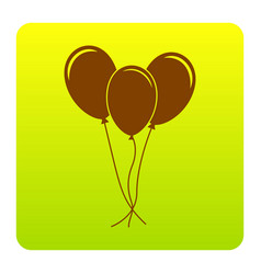 Balloons set sign brown icon at green vector