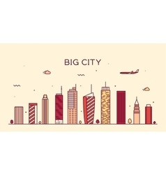 Big city skyline trendy linear vector