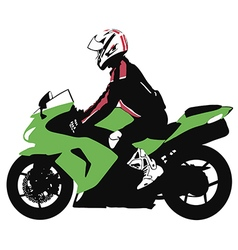 Biker on motorcycle travels vector