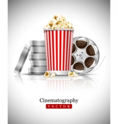 Cinema films and popcorn vector
