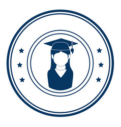 Circular emblem with woman with graduation outfit vector