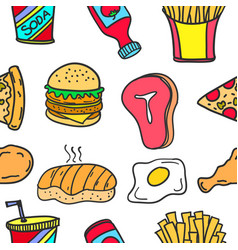 collection of food element doodles vector image vector image