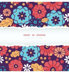 Colorful bouquet flowers horizontal torn frame vector