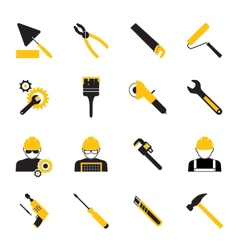 Construction Workers and Tools Icons vector image vector image