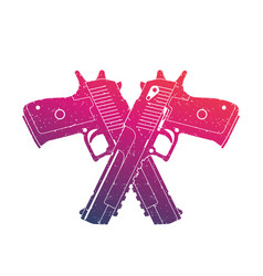 Crossed powerful pistols two handguns on white vector