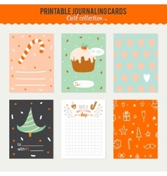 Cute journaling 3x4 vertical cards vector