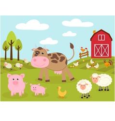 Cute little farm vector