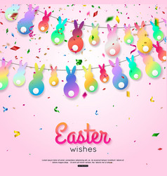 easter wishes greeting card with hanging rabbit vector image